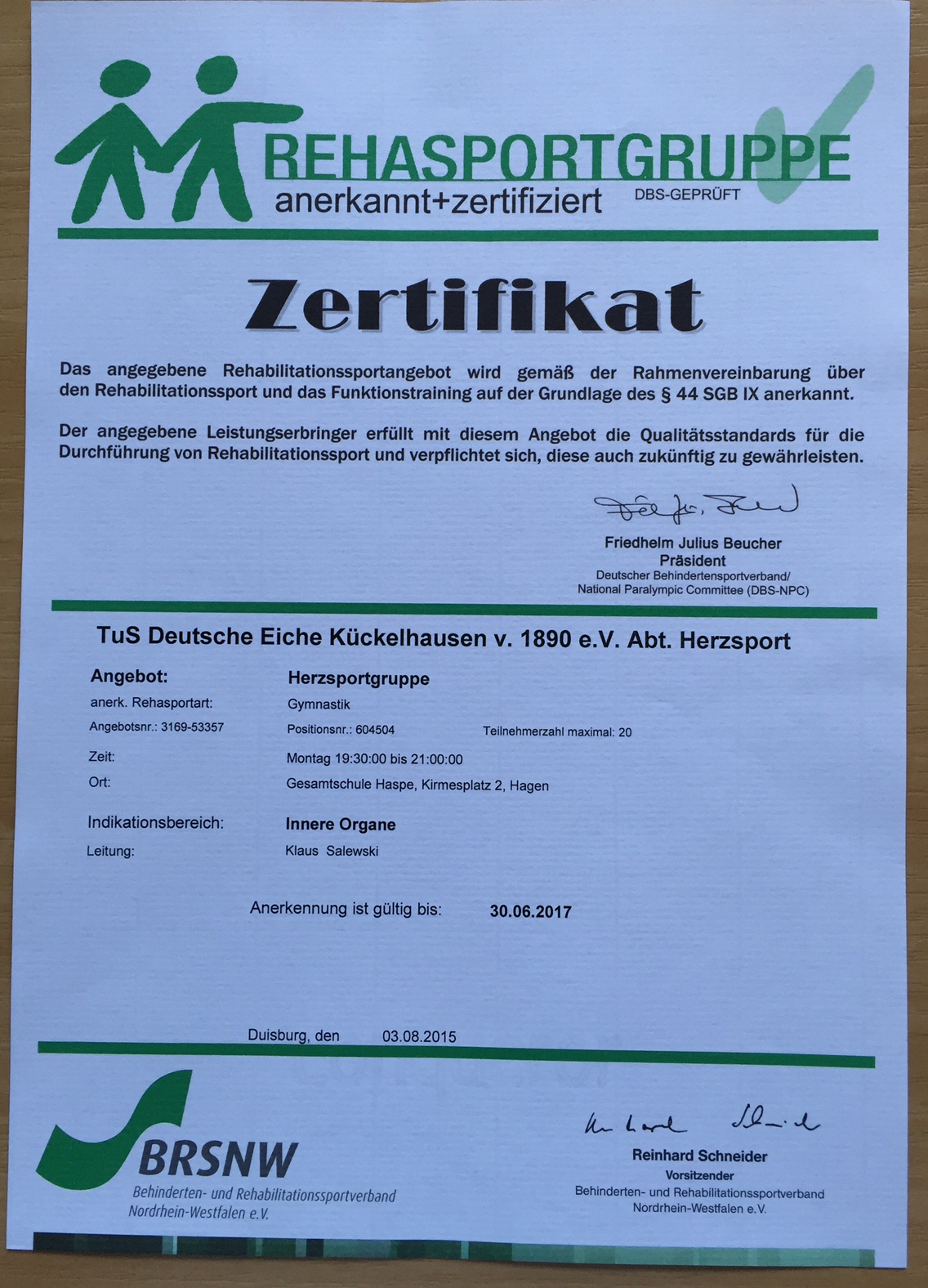 DEK Zertifikat Herzsport